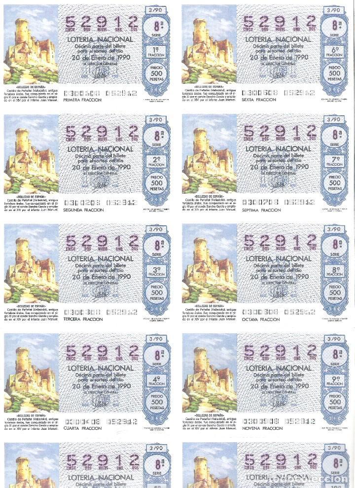1 BILLETE LOTERIA SABADO - 20 ENERO 1990 - 3/90 - CASTILLO DE PEÑAFIEL ( VALLADOLID ) (Coleccionismo - Lotería Nacional)
