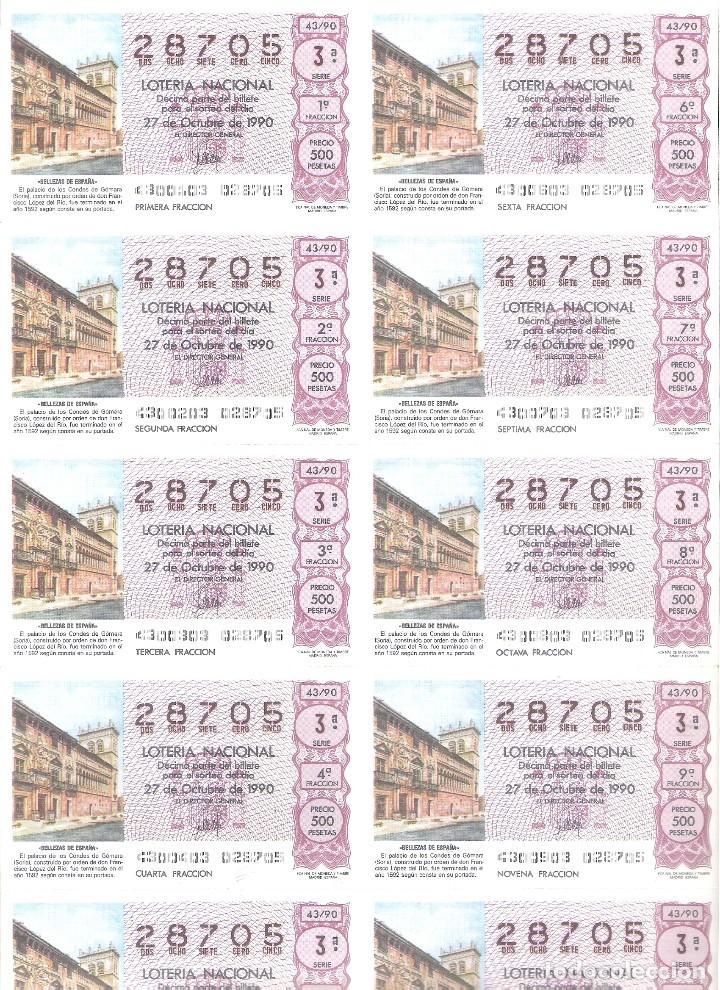 1 BILLETE LOTERIA SABADO - 27 OCTUBRE 1990 - 43/90 - PALACIO DE LOS CONDES DE GOMARA ( SORIA ) (Coleccionismo - Lotería Nacional)