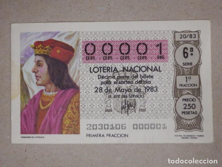 LOTERÍA NACIONAL - DÉCIMO NÚMEROS BAJOS - 00001 - SORTEO 20/83 DEL 28 DE MAYO DE 1983 (Coleccionismo - Lotería Nacional)