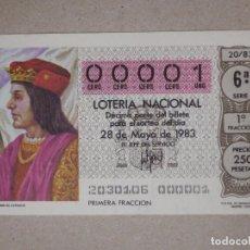 Lotería Nacional: LOTERÍA NACIONAL - DÉCIMO NÚMEROS BAJOS - 00001 - SORTEO 20/83 DEL 28 DE MAYO DE 1983. Lote 194539003