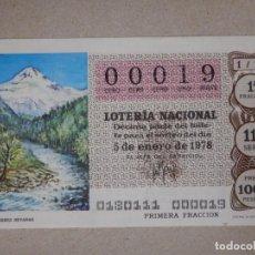 Lotería Nacional: LOTERÍA NACIONAL - DÉCIMO NÚMEROS BAJOS - 00019 - SORTEO 1/78 DEL 5 DE ENERO DE 1978. Lote 194540038
