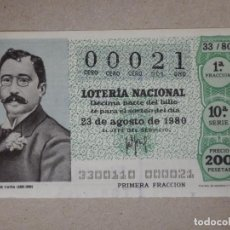 Lotería Nacional: LOTERÍA NACIONAL - DÉCIMO NÚMEROS BAJOS - 00021 - SORTEO 33/80 DEL 23 DE AGOSTO DE 1980. Lote 194540271