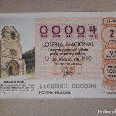 Lotería Nacional: LOTERÍA NACIONAL - DÉCIMO NÚMEROS BAJOS - 00004 - SORTEO 11/90 DEL 17 DE MARZO DE 1990. Lote 194540317