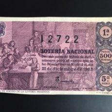 Lotería Nacional: LOTERIA AÑO 1963 SORTEO 36 NAVIDAD. Lote 194581607
