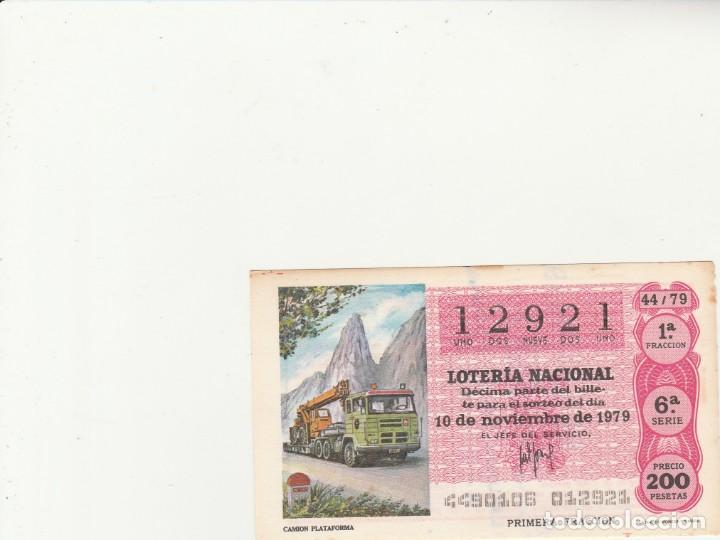 LOTERIA NACIONAL 1979 SORTEO Nº 44 SERIE 6ª NUMERO CAPICUA 12921 (Coleccionismo - Lotería Nacional)