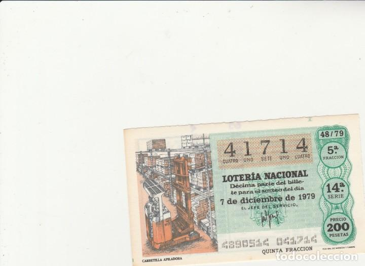 LOTERIA NACIONAL 1979 SORTEO Nº 48 SERIE 14ª NUMERO CAPICUA 41714 (Coleccionismo - Lotería Nacional)