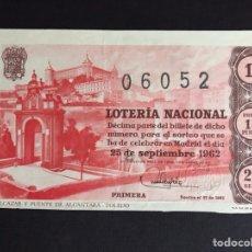 Lotería Nacional: LOTERIA AÑO 1962 SORTEO 27. Lote 194629026