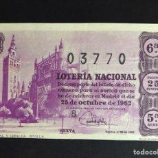 Lotería Nacional: LOTERIA AÑO 1962 SORTEO 30. Lote 194629125