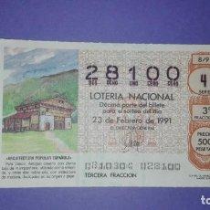 Lotería Nacional: DECIMO DE LOTERIA 28100. Lote 194644740