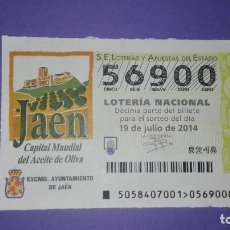 Lotería Nacional: DECIMO DE LOTERIA 56900. Lote 194645315