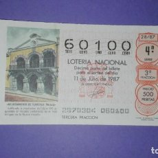 Lotería Nacional: DECIMO DE LOTERIA 60100. Lote 194645356