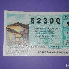 Lotería Nacional: DECIMO DE LOTERIA 62300. Lote 194645403