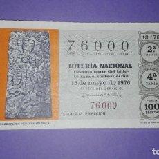 Lotería Nacional: DECIMO DE LOTERIA 76000. Lote 194645483