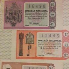 Lotería Nacional: 1961 LOTERIA NACIONAL LOTE DECIMOS. Lote 194720597