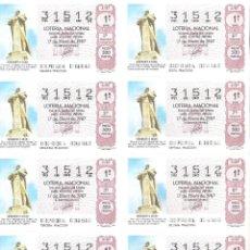 Lotería Nacional: 1 BILLETE LOTERIA SABADO - 17 ENERO 1987 - 3/87 MONUMENTO A COLON - PUNTA DEL SEBO ( HUELVA. Lote 194732635