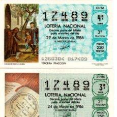Lotería Nacional: LOT. NACIONAL - AÑO 1986 - SORTEOS 13, 21, 22 Y 43. Lote 194741091