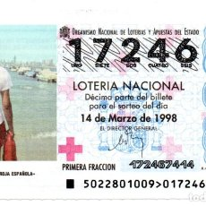 Lotería Nacional: LOTERÍA NACIONAL - AÑO 1998 - SORTEO Nº 22 - CRUZ ROJA ESPAÑOLA - . Lote 194741430