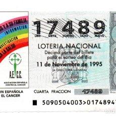 Lotería Nacional: LOTERÍA NACIONAL - AÑO 1995 - SORTEO Nº 90 - ASOCIACIÓN ESPAÑOLA CONTRA EL CÁNCER -. Lote 194741495