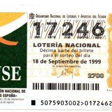 Lotería Nacional: LOTERÍA NACIONAL - AÑO 1999 - SORTEO Nº 75 - CONFEDERACIÓN NACIONAL DE SORDOS DE ESPAÑA. Lote 194741758