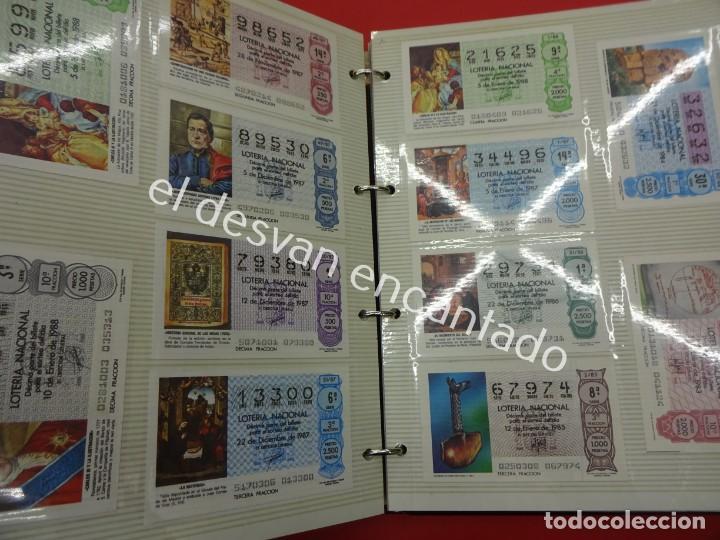 Lotería Nacional: Lote de 464 décimos LOTERIA NACIONAL coleccionados en dos albumes. Años 80-90s - Foto 10 - 194864115