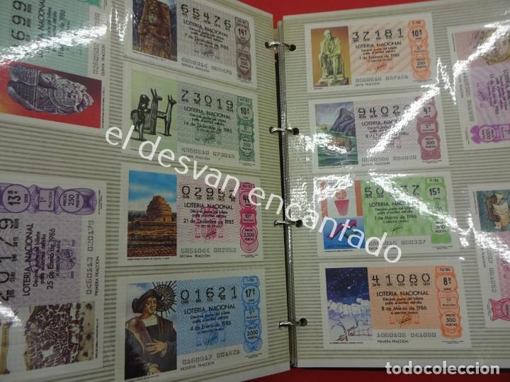Lotería Nacional: Lote de 464 décimos LOTERIA NACIONAL coleccionados en dos albumes. Años 80-90s - Foto 12 - 194864115