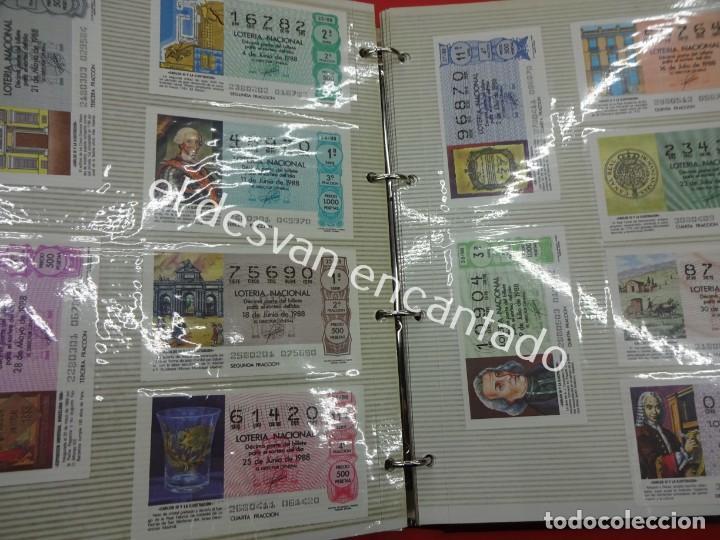 Lotería Nacional: Lote de 464 décimos LOTERIA NACIONAL coleccionados en dos albumes. Años 80-90s - Foto 17 - 194864115