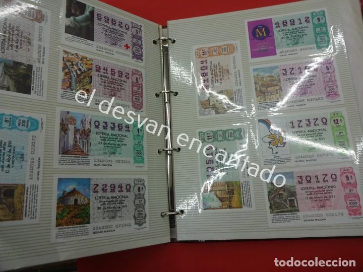 Lotería Nacional: Lote de 464 décimos LOTERIA NACIONAL coleccionados en dos albumes. Años 80-90s - Foto 23 - 194864115