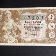 Lotería Nacional: LOTERIA AÑO 1959 SORTEO 1. Lote 194882005