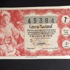 Lotería Nacional: LOTERIA AÑO 1959 SORTEO 1. Lote 194882105