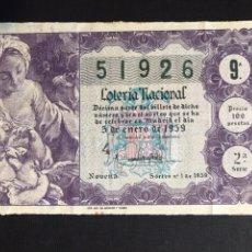 Lotería Nacional: LOTERIA AÑO 1959 SORTEO 1. Lote 194882160