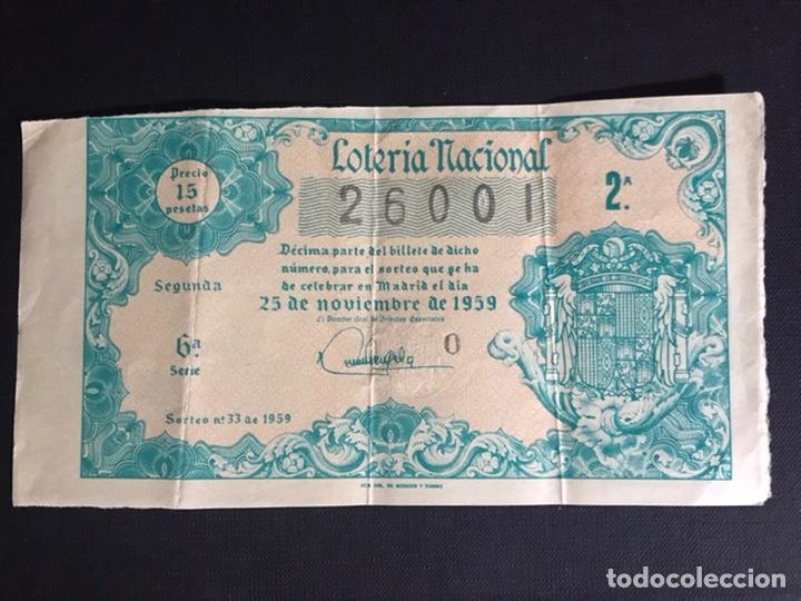 LOTERIA AÑO 1959 SORTEO 33 (Coleccionismo - Lotería Nacional)