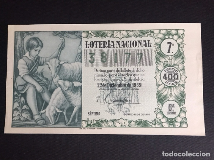 LOTERIA AÑO 1959 SORTEO 36 NAVIDAD (Coleccionismo - Lotería Nacional)