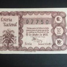 Lotería Nacional: LOTERIA AÑO 1957 SORTEO 30. Lote 195010201