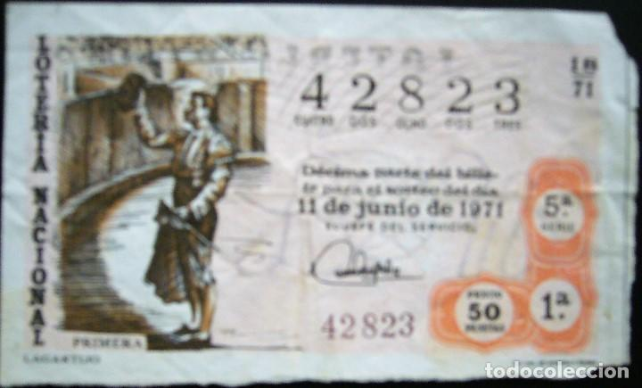DÉCIMO DE 1971 - NÚMERO 42823 (Coleccionismo - Lotería Nacional)