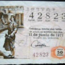 Lotería Nacional: DÉCIMO DE 1971 - NÚMERO 42823. Lote 195057911