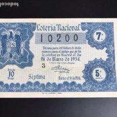 Lotería Nacional: LOTERIA AÑO 1956 SORTEO 9. Lote 195086997