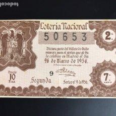 Lotería Nacional: LOTERIA AÑO 1956 SORTEO 9. Lote 195087078