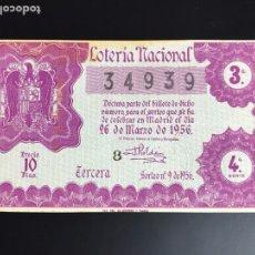 Lotería Nacional: LOTERIA AÑO 1956 SORTEO 9. Lote 195087206