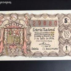 Lotería Nacional: LOTERIA AÑO 1956 SORTEO 19. Lote 195091351