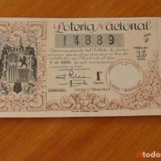 Lotería Nacional: LOTERIA NACIONAL -SORTEO NUMERO 10 DE 1943. Lote 195141340