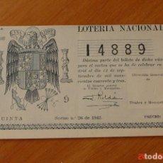 Lotería Nacional: LOTERIA NACIONAL SORTEO 26 DE 1943. Lote 195145895