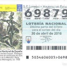 Lotería Nacional: 1 DECIMO LOTERIA SABADO - 30 ABRIL 2016 - 34/16 - DON QUIJOTE DE LA MANCHA - BIBLIOTECA NACIONAL . Lote 195151060