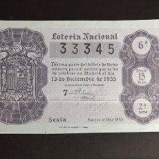 Lotería Nacional: LOTERIA AÑO 1955 SORTEO 35. Lote 195234535