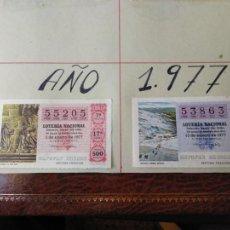 Lotería Nacional: LOTERÍA NACIONA. AÑO 1977 COMPLETO MONTADO EN HOJAS DE CARTULINA GRUESA DEL TAMAÑO 28,5 X 21 CM.. Lote 195273088