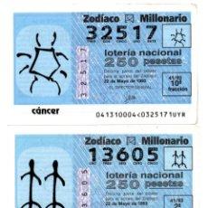 Lotería Nacional: LOTERÍA NACIONAL DEL ZODIACO - AÑO 1993 - SORTEO Nº 41 - CÁNCER, GÉMINIS, LIBRA Y VIRGO. Lote 195280861