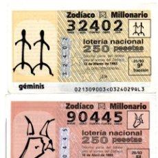 Lotería Nacional: LOTERÍA NACIONAL DEL JUEVES - ZODIACO - AÑO 1993 - SORTEOS 21, 29, 33 Y 53. Lote 195281235