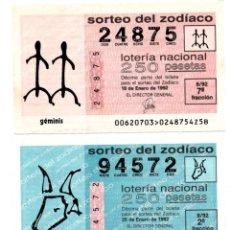 Lotería Nacional: LOTERÍA NACIONAL - ZODIACO - AÑO 1992 - SORTEOS 6,8, 14 Y 60. Lote 195282840