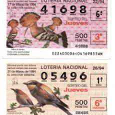Lotería Nacional: LOTERIA NACIONAL DEL JUEVES - AÑO 1994 - SORTEOS 22 Y 26. Lote 195283485