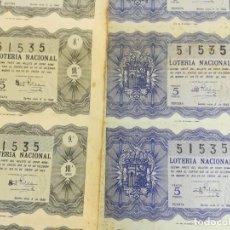 Lotería Nacional: 2 BILLETES COMPLETOS DEL NÚMERO 51535 SORTEO Nº 3 DE 1949. Lote 195330596