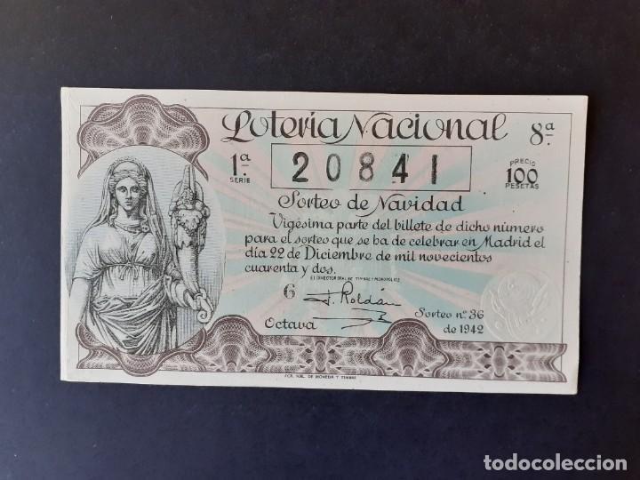 423607 LOTERIA NACIONAL, AÑO 1942 SORTEO 36 (Coleccionismo - Lotería Nacional)